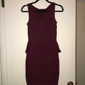 Burgundy Lace Peplum Dress